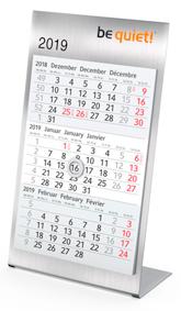 Jahreskalender aus Edelstahl mit 3-Monatsübersicht