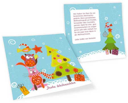 Christmas cards with fabric motifs