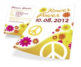 Flyer DIN A8 Designbeispiel Flower Power
