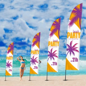 Beachflags Square, 2.8 m, Flagge 55 x 200 cm