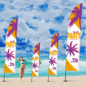Beachflags Square, 4.5 m, Flagge 80 x 340 cm