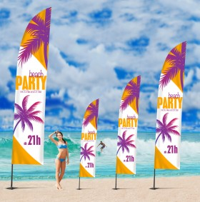 Beachflags Square, 5.6 m, Flagge 85 x 390 cm