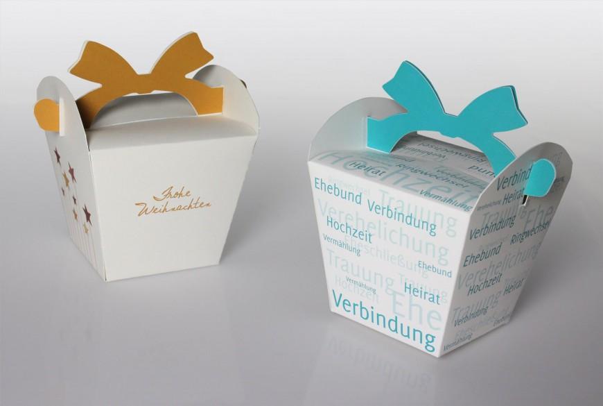 Geschenk-Verpackungen mit witziger Schleife in kleiner Auflage drucken