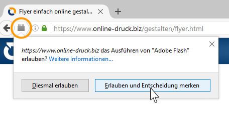 Online Designer Flash-Blockierung