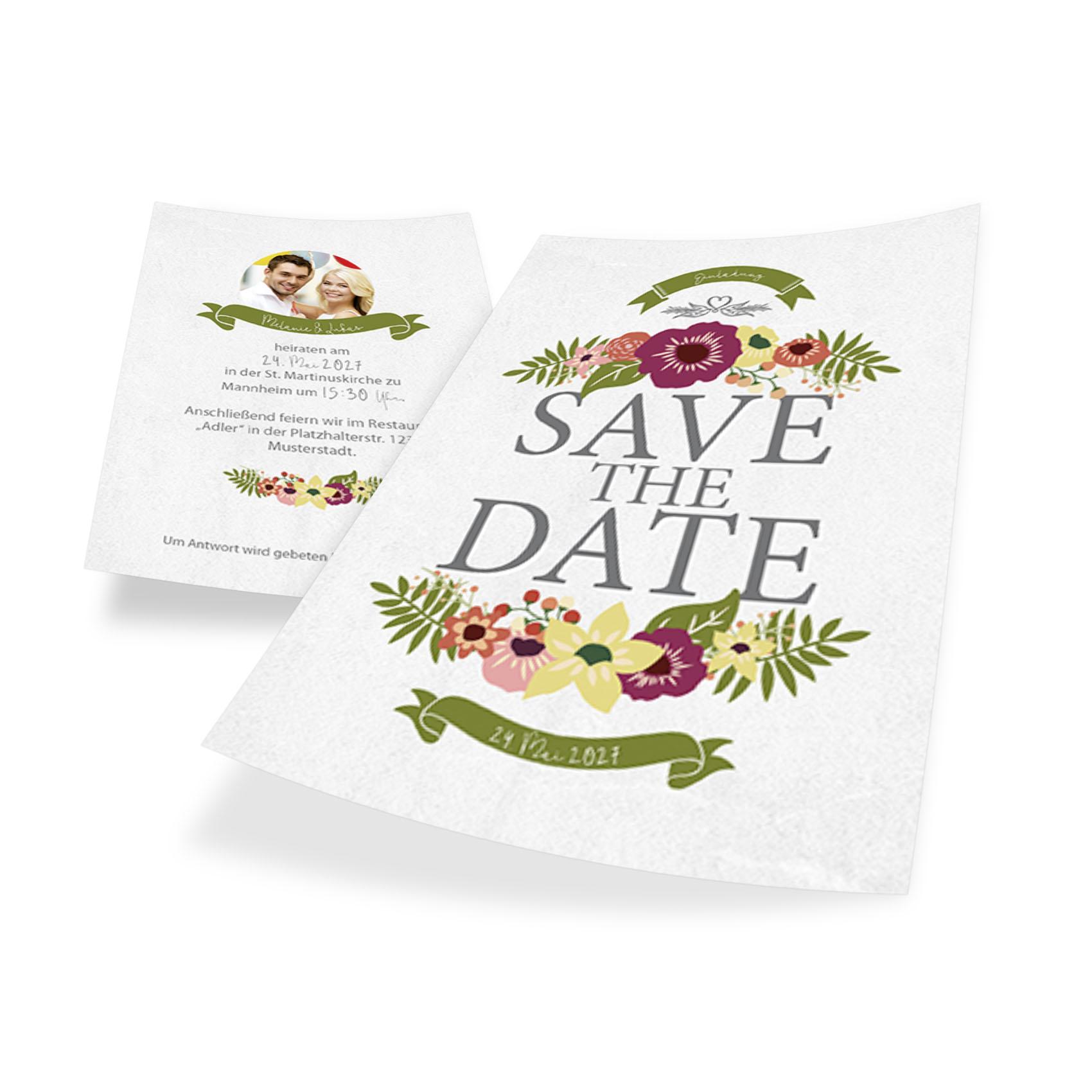 Romantische Hochzeitskarte Save The Date Online Gestalten Und