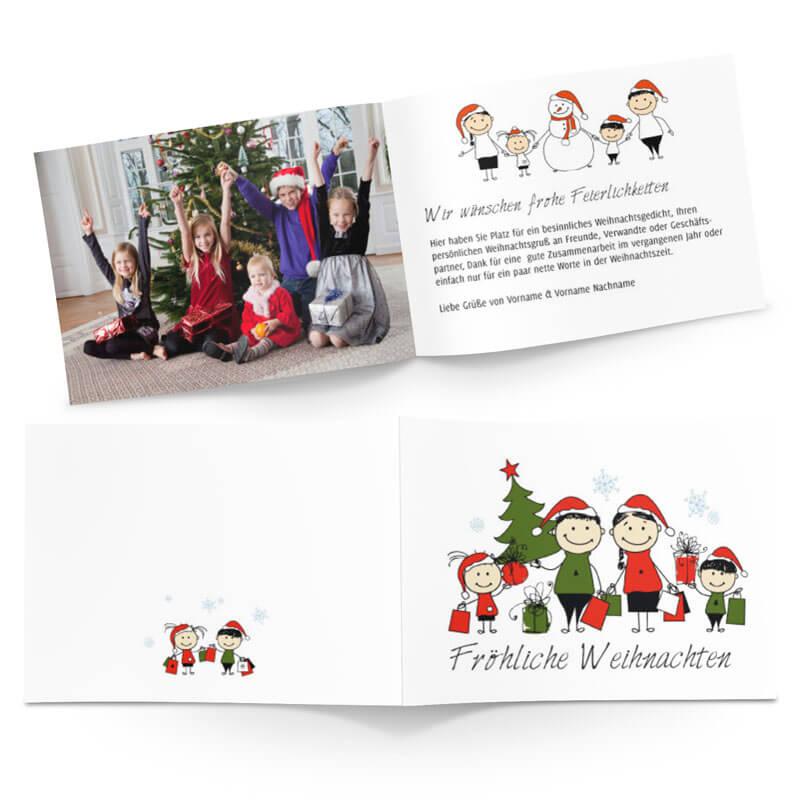 Weihnachtskarten Gestalten Günstig.Lustige Familie Auf Weihnachtskarte Im Comicstyle In Grün Und Rot