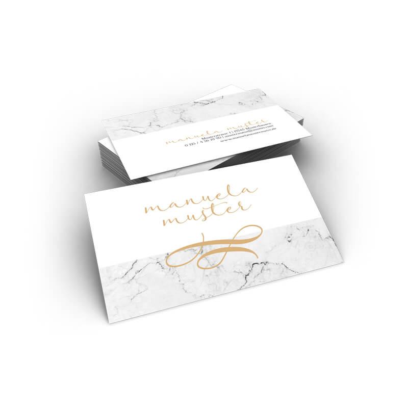 Visitenkarten Marmor Gold Grau Edel Online Erstellen