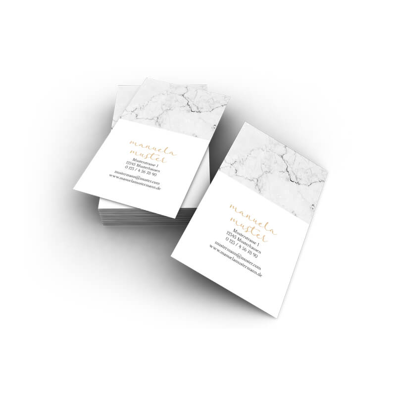 Visitenkarten Marmor Hochformat Grau Online Drucken