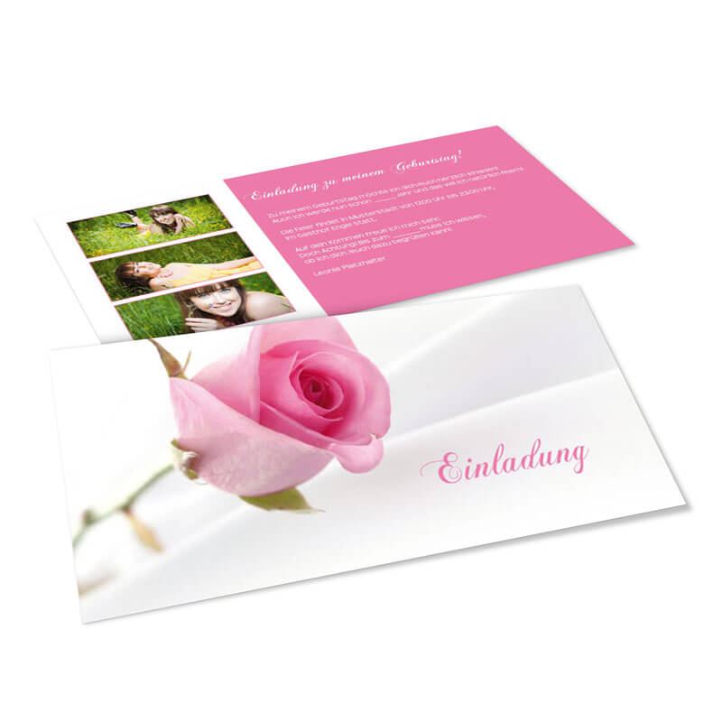 einladungskarten zum geburtstag mit prächtiger rose in zartem rosé, Einladungsentwurf