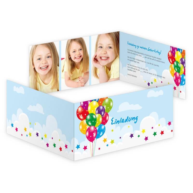 100 bunte luftballons auf geburtstagskarte. Black Bedroom Furniture Sets. Home Design Ideas