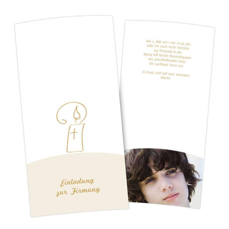 einladungskarten zur firmung mit kerze und einfacher grafik