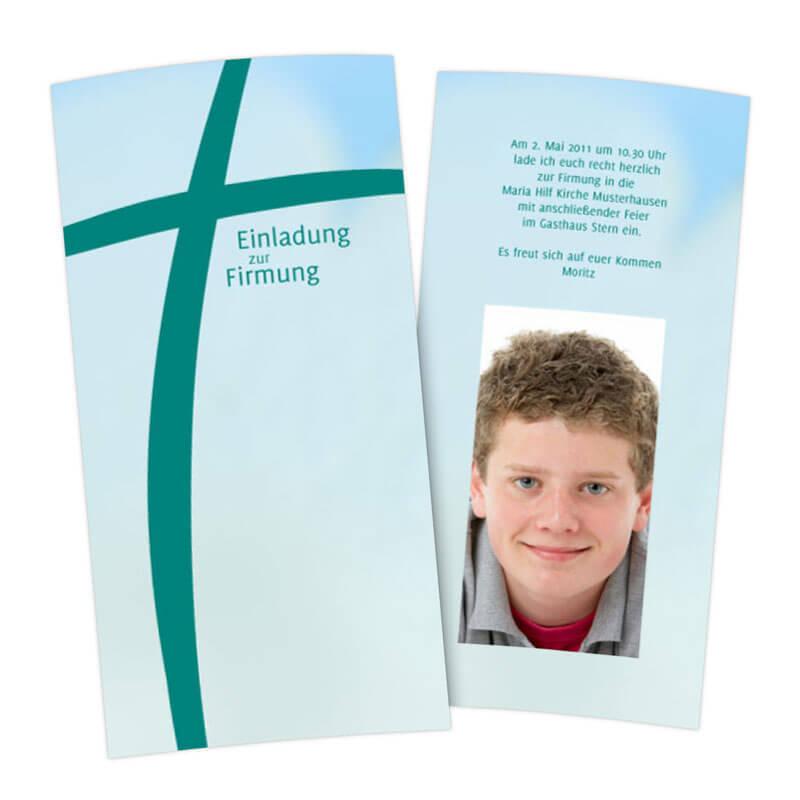 einladungskarte zur firmung mit dynamisch fotografiertem kreuz, Einladung