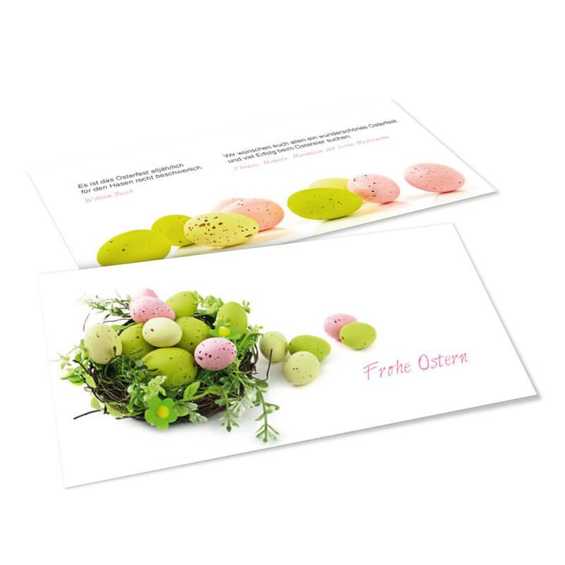 19cdc2a4423ea Oster-Karten mit wunderschönen Oster-Eiern in grün und pink