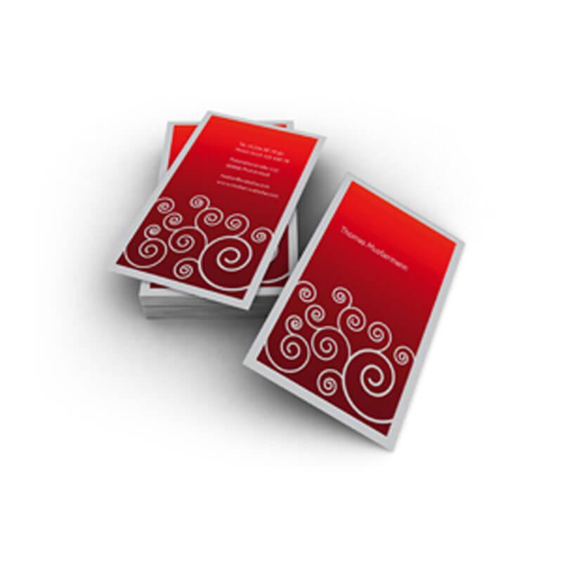 Visitenkarten In Herrlichtem Rotton Mit Silbergrauer