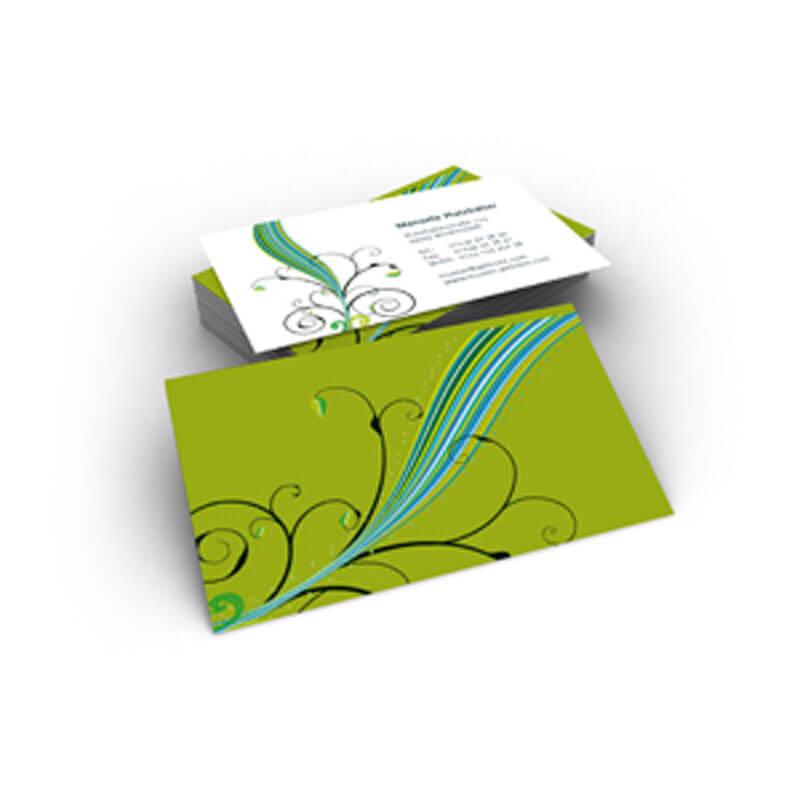 Phantasievolle Vistienkarte In Zartgrün Und Blauem