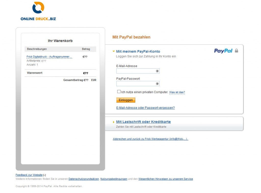 Auswahl der PayPal Konten