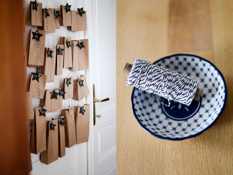 Papiertüten an einer schönen Schnur aufgehängt