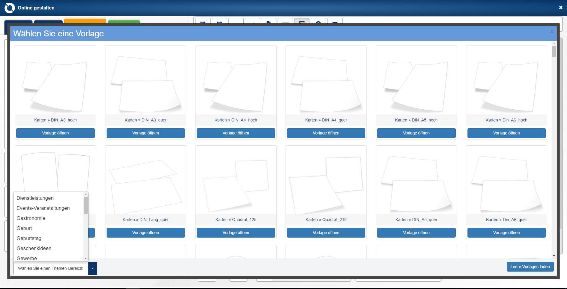 Vorlagen Onlinedesign